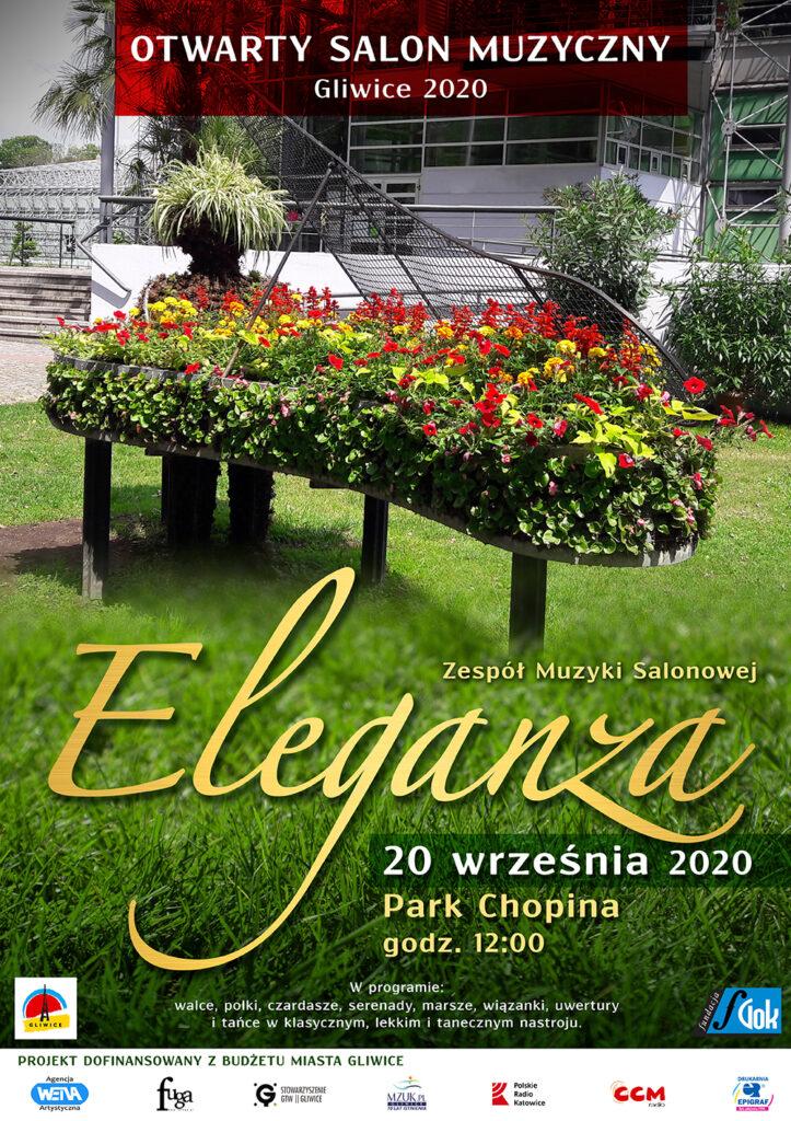 Plakat Zespół Muzyki Salnowej Eleganza 20 września 2020 w Parku Chopina godz 12:00